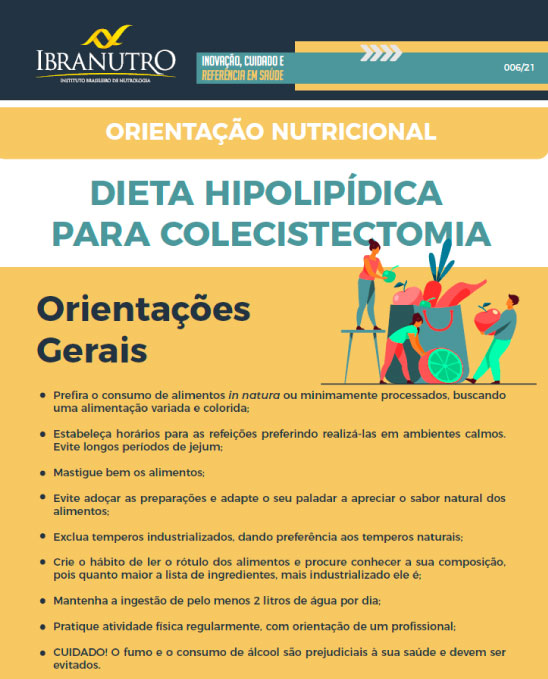 ORIENTAÇÃO NUTRICIONAL - DIETA HIPOLIPÍDICA PARA COLECISTECTOMIA